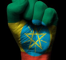 Flag of Ethiopia on a Raised Clenched Fist  by Jeff Bartels