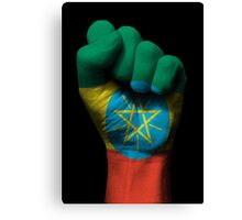 Flag of Ethiopia on a Raised Clenched Fist  Canvas Print