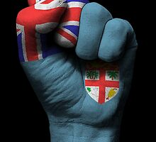 Flag of Fiji on a Raised Clenched Fist  by Jeff Bartels