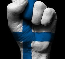 Flag of Finland on a Raised Clenched Fist  by Jeff Bartels