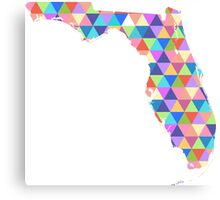 Florida Colorful Geometric Triangles - Hipster Florida Canvas Print