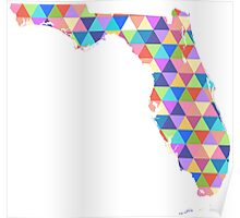Florida Colorful Geometric Traingles - Hipster Florida Poster