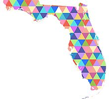 Florida Colorful Geometric Triangles - Hipster Florida Photographic Print