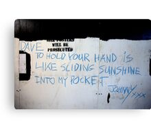 Johnny (street poet) Canvas Print