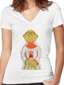 Bunsen and Beaker Women's Fitted V-Neck T-Shirt