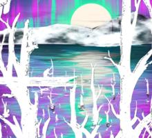 Night With Aurora Sticker