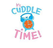 It's CUDDLE time! with cute clock  Photographic Print