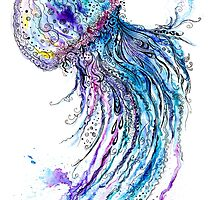 Jelly fish watercolor and ink painting by kisikoida