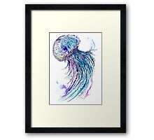 Jelly fish watercolor and ink painting Framed Print