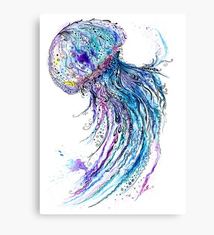 Jelly fish watercolor and ink painting Canvas Print