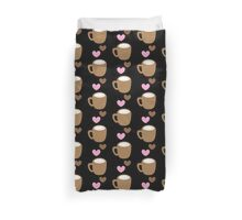 LOVE COFFEE funky retro simple coffee cup with love heart Duvet Cover