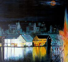 Lac ( Lake )  Bromont  Quebec  Nightscape            ( My Paintings )  by John Todaro