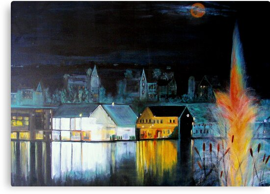 Lac ( Lake )  Bromont  Quebec  Nightscape            ( My Paintings )  by fiat777