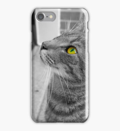 Black and white cat with vibrant eye iPhone Case/Skin
