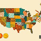 UNITED STATES TYPOGRAPHIC MAP by JazzberryBlue