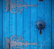 Traditional Old Cobalt Blue Door in Tunisia with Iron Decorations by HotHibiscus