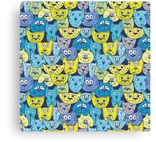 Sketch colorful cat pattern Canvas Print