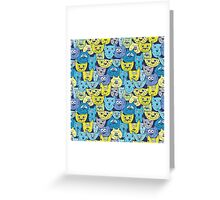Sketch colorful cat pattern Greeting Card