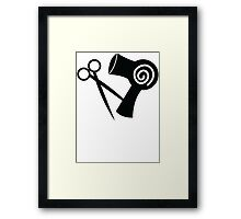 Hairdryer and scissors hairstylist Framed Print