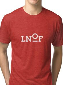 LNOF White Logo on Power Red Tri-blend T-Shirt