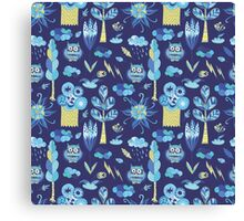 Funny kids background with forest life Canvas Print