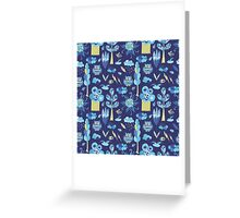 Funny kids background with forest life Greeting Card