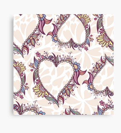 Blossoming Heart pattern Canvas Print