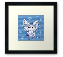 Sea cat illustration  Framed Print