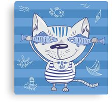 Sea cat illustration  Canvas Print