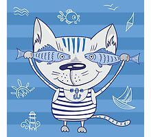 Sea cat illustration  Photographic Print