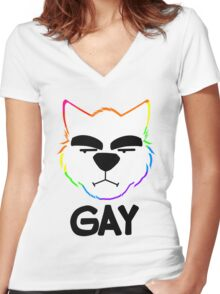 GAY Women's Fitted V-Neck T-Shirt