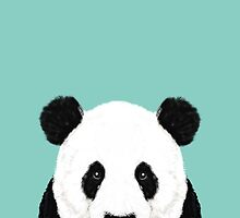 Panda - mint - cute black and white animal portrait,  design, illustration, animal cell phone, case, panda,  by PetFriendly