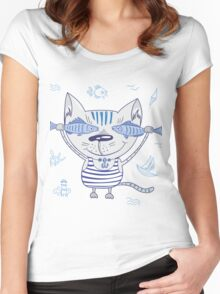 Sea cat illustration  Women's Fitted Scoop T-Shirt