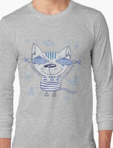 Sea cat illustration  Long Sleeve T-Shirt