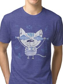 Sea cat illustration  Tri-blend T-Shirt