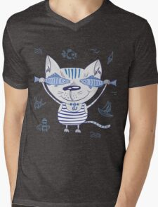 Sea cat illustration  Mens V-Neck T-Shirt