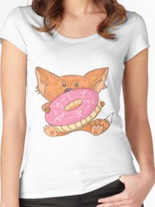 Baby fox with donut Women's Fitted Scoop T-Shirt