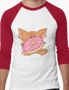 Baby fox with donut Men's Baseball ¾ T-Shirt