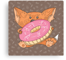 Baby fox with donut Canvas Print