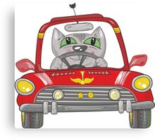 Cat on the car Canvas Print
