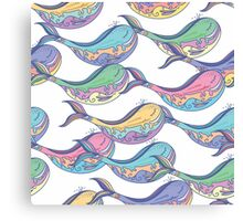 Colorful whale pattern Canvas Print