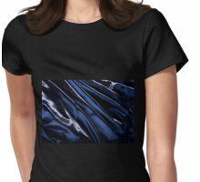 Dark blue glossy crumpled satin  Womens Fitted T-Shirt