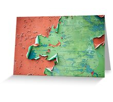Green brown old cracked paint wall  Greeting Card