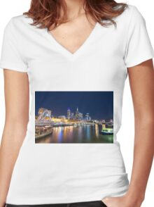 Yarra River at night Women's Fitted V-Neck T-Shirt