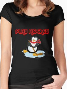 play hockey penguin Women's Fitted Scoop T-Shirt
