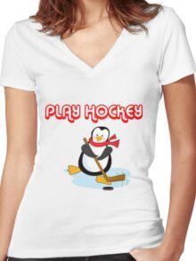 play hockey penguin Women's Fitted V-Neck T-Shirt