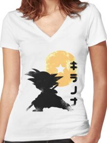 Young Warrior Dragon Ball Women's Fitted V-Neck T-Shirt