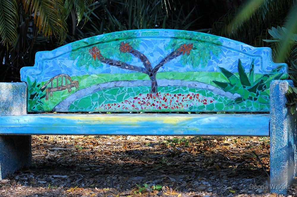 Mosaic bench by donna adamski redbubble for T shirt printing port saint lucie fl