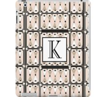 1920s Pink Champagne Gatsby Monogram letter K iPad Case/Skin