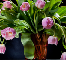 Pink tulips bouquet in glass vase Sticker